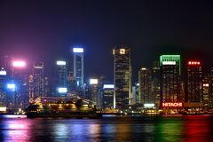 Hongkong Victoria harbor business buildings in night, 2016 Royalty Free Stock Image