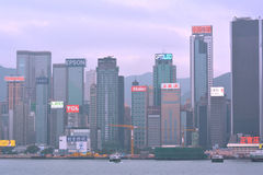 Hongkong Victoria Harbor business buildings, year of 2013 Stock Image