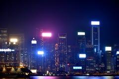 Hongkong Victoria harbor night building, 2016. Hongkong victoria harbor business building in night lighting Stock Photography