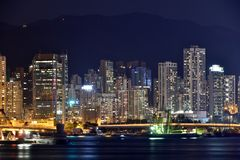Hongkong Victoria harbor night buildings, 2016. Night view and lightinging of Hongkong victoria harbor Stock Photos