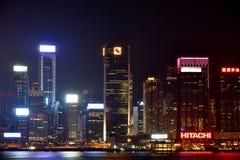 Hongkong Victoria harbor night buildings, 2016. Night view and lightinging of Hongkong victoria harbor Royalty Free Stock Photos