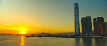 Hongkong Victoria Harbour Sunset Royalty-vrije Stock Afbeeldingen