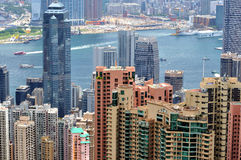 Hongkong view, city buildings and harbor Royalty Free Stock Images