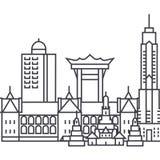 Hongkong wektoru linii ikona, znak, ilustracja na tle, editable uderzenia Obraz Stock