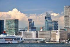 Hongkong West Kowloon modern buildings beside sea Stock Photos