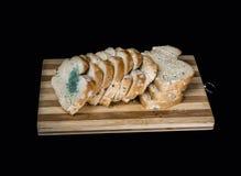 Hongo de molde en las rebanadas de pan aisladas en fondo negro Fotografía de archivo