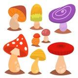 Hongos del diseño del estilo del arte de la seta del agárico del hongo de setas diversos vector el sombrero del rojo del ejemplo Imagen de archivo
