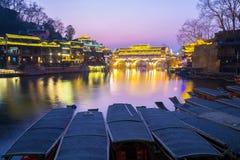 Hongqiao Bridge Fenghuang twilight China Royalty Free Stock Photo