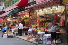 Hongs Kong fruktmarknad Arkivfoton