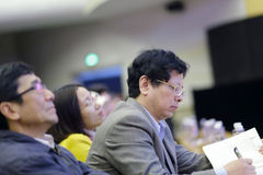 Hongshuimiao, dean of school of economics carefully take notes Stock Photo