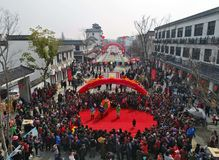 Hongze湖,江苏省,中国:1, 000个人分享蜗牛宴餐 免版税库存图片