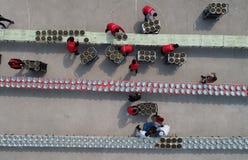 Hongze湖,江苏省,中国:1, 000个人分享蜗牛宴餐 图库摄影