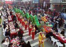 Hongze湖,江苏省,中国:1, 000个人分享蜗牛宴餐 免版税库存照片