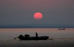 Hongze lake fishermen Royalty Free Stock Image