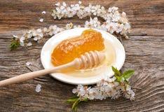 Honig-, Bienenwaben- und Aprikosenblumen auf hölzernem Hintergrund Stockfotos