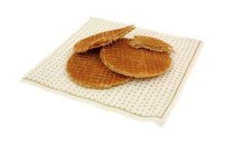 Honig gefüllte Oblaten auf Serviette lizenzfreies stockbild