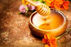 Honig Gesundes organisches starkes Honigbratenfett vom Honigschöpflöffel in der hölzernen Schüssel Süßer Nachtisch Lizenzfreie Stockbilder