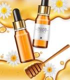 Honig hineingegossener Serum Vektor realistisch Produktplatzierungsspott oben Ausführliche Flaschen mit Honigspritzen Illustratio vektor abbildung