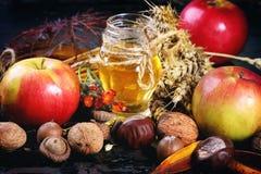 Honig, Nüsse und Äpfel Stockfotografie