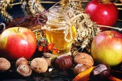 Honig, Nüsse und Äpfel Stockbilder