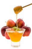 Honig und Apfel Stockfotografie