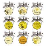 Honig und Bienen vector Ausweise und Aufkleber für irgendwelche Stockfoto