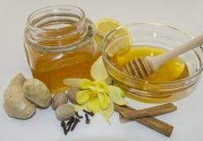 Honig und Gewürze auf einem weißen Hintergrund Lizenzfreies Stockbild