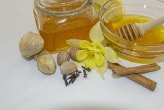 Honig und Gewürze auf einem weißen Hintergrund Stockbilder