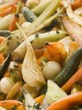 Honig und Thymian gebratenes Schätzchen-Gemüse Lizenzfreies Stockfoto
