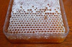 Honig in weißer Bienenwabe 1 stockfoto