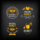 Honigausweis und -aufkleber Abstraktes Bienendesign Vektor mit Grafik Stockfotografie