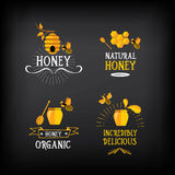Honigausweis und -aufkleber Abstraktes Bienendesign Vektor mit Grafik Stockbild