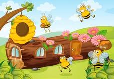 Honigbienen und -Holzhaus vektor abbildung