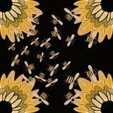 Honigbienen- und -sonnenblumenhintergrundtapete vektor abbildung