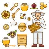 Honigelementsatz mit Bienenstock, Imker, Blumen und bereitem Produkt Flache Vektorillustration des Entwurfs Lizenzfreie Stockfotografie
