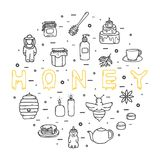 Honigikonen stellten, von Hand gezeichnete Art, Vektorillustration ein Lizenzfreie Stockfotografie
