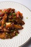 Honigpaprikakartoffel oder Kartoffelkeile lizenzfreies stockfoto