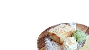 Honigtoast mit Eiscreme des grünen Tees Lizenzfreies Stockbild