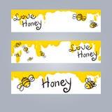 Honing en Bijenillustratie Stock Fotografie