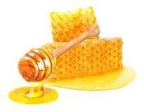 Honing en Honingraat stock afbeelding