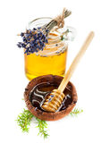 Honing en lavendelbloemen Stock Fotografie