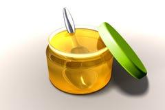 Honing en lepel Royalty-vrije Stock Afbeeldingen
