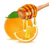 Honing en oranje fruit royalty-vrije stock foto