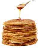 Honing en pannekoeken Royalty-vrije Stock Afbeeldingen