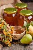 Honing en peren stock afbeelding
