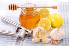 Honing, knoflook en citroen Stock Foto