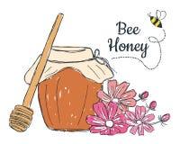 Honing met bloemenkrabbel Stock Foto