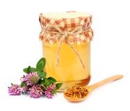 Honing met stuifmeel Stock Afbeeldingen