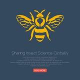 Honingbijpictogram Vector illustratie Royalty-vrije Stock Afbeeldingen