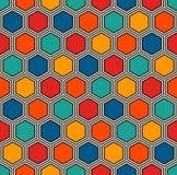 Honingraat abstracte achtergrond Levendig het mozaïekbehang van kleuren hexagon tegels Naadloos patroon met klassiek ornament royalty-vrije illustratie